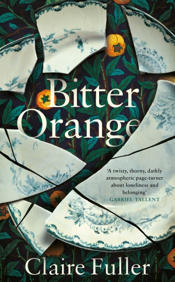 Bitter Orange jacket: Oranges and dark leaves, with smashed plate
